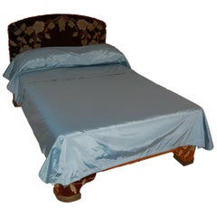 Full Size Custom Made Bed Covered in Antique Embroidered Velvet