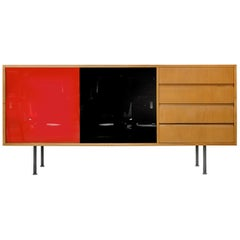 Swiss Modernist Sideboard with Red and Black Glass Sliding Doors, 1960s