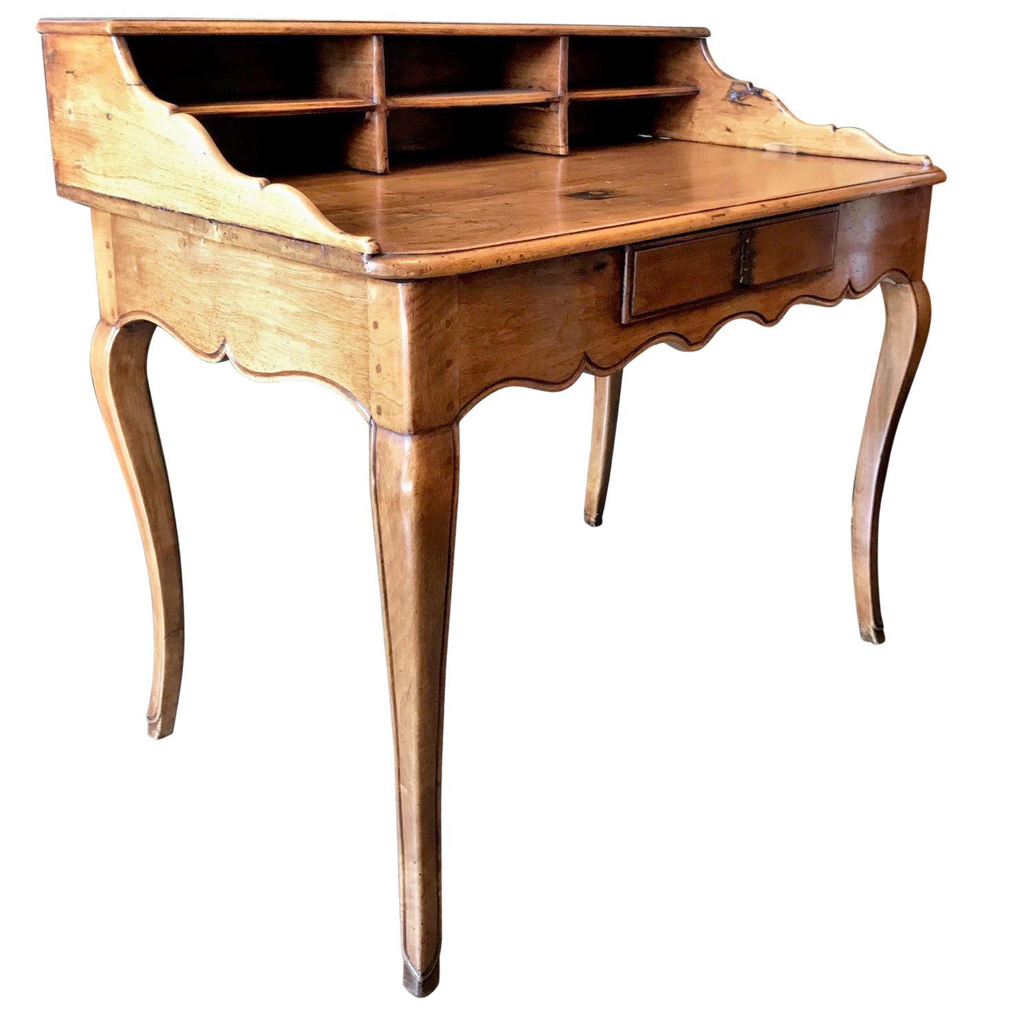 Bureau Table Provencal 18th C. antique Cartonnier Writing office Desk in Walnut