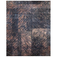 Contemporary Geometric Pink and Grey Wool-Silk Rug with Scribble Design