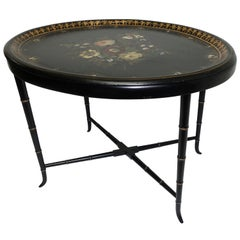 Papier Mâché Hand Painted Tray Table with Mother of Pearl Inlay, 19th Century