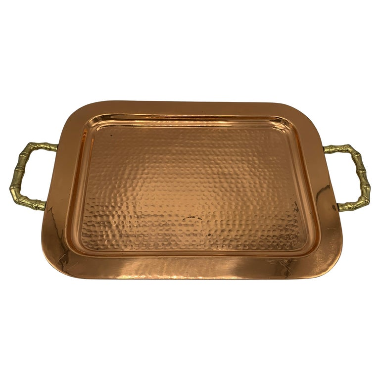 1970s Copper and Brass Tray with Faux Bamboo Handles For Sale