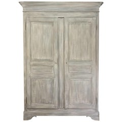 19th Century French Louis Philippe Painted Cherrywood Armoire