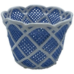 1960s Italian Blue and White Porcelain Basketweave Cachepot