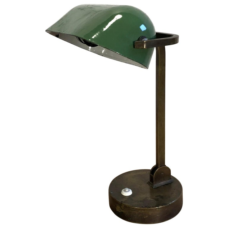 Green Enamel Bank Lamp, 1930s For Sale