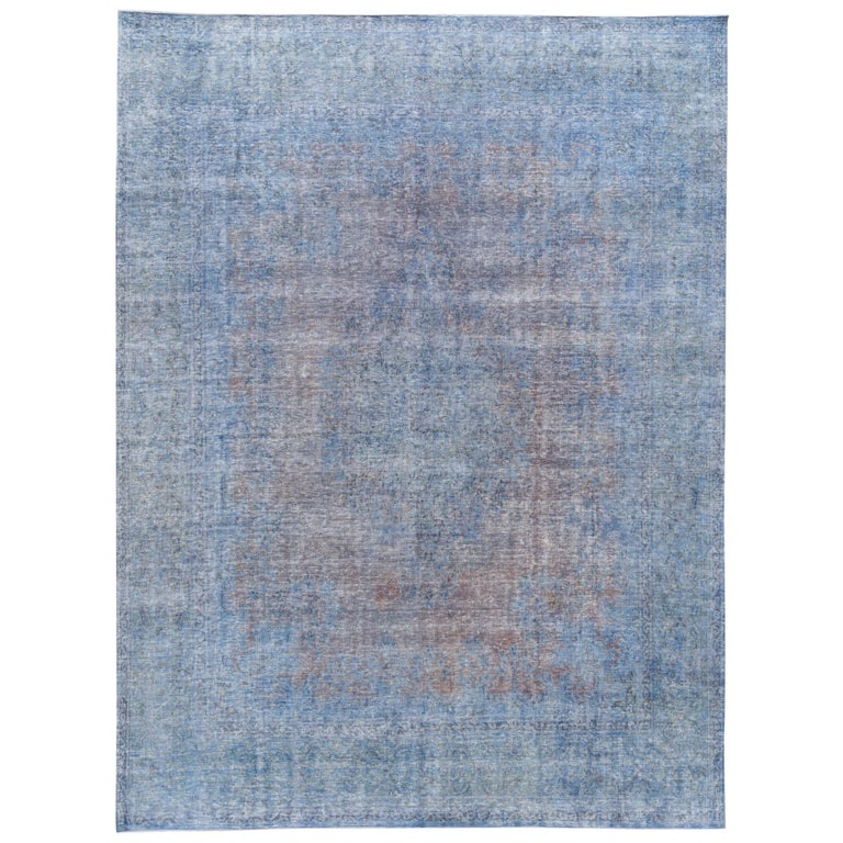 e0415882cd Vintage Distressed Overdyed Blue Wool Rug For Sale at 1stdibs