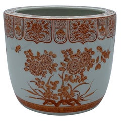 1970s Orange and White Floral Painted Cachepot