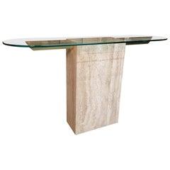 Italian Travertine Console Table