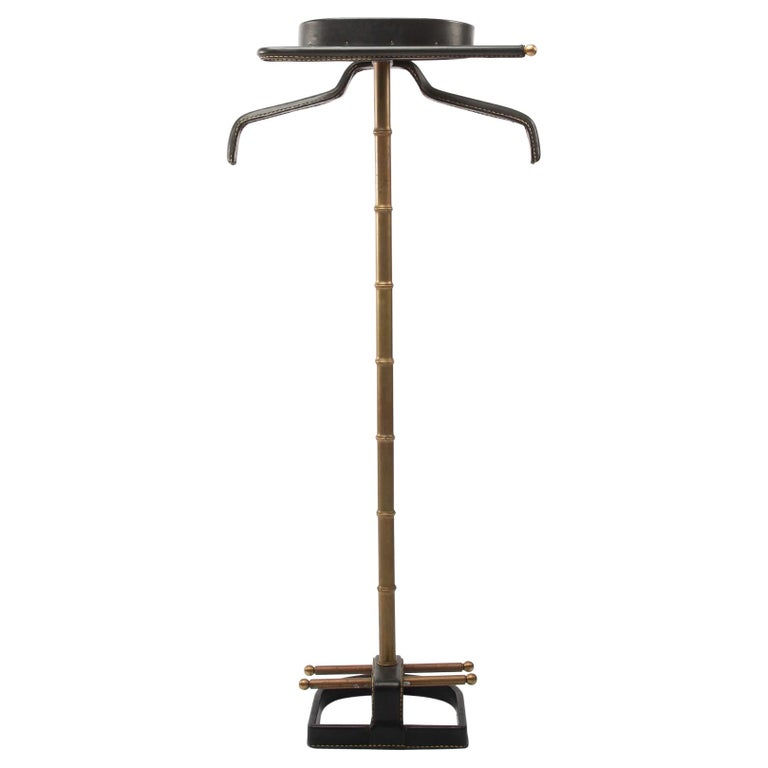 French Midcentury Valet, Jacques Adnet, Steel, Black Leather, Brass  For Sale