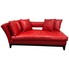 Custom Red Leather Chaise Sofa Lounge
