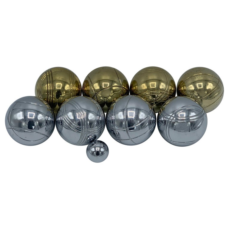 1960s Italian Brass and Chrome Bocce Ball Set, 9 Pieces