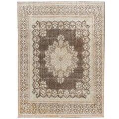 Vintage Distressed Brown and Blue Wool Rug