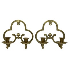 1970s Brass Candlestick Wall Sconces, Pair
