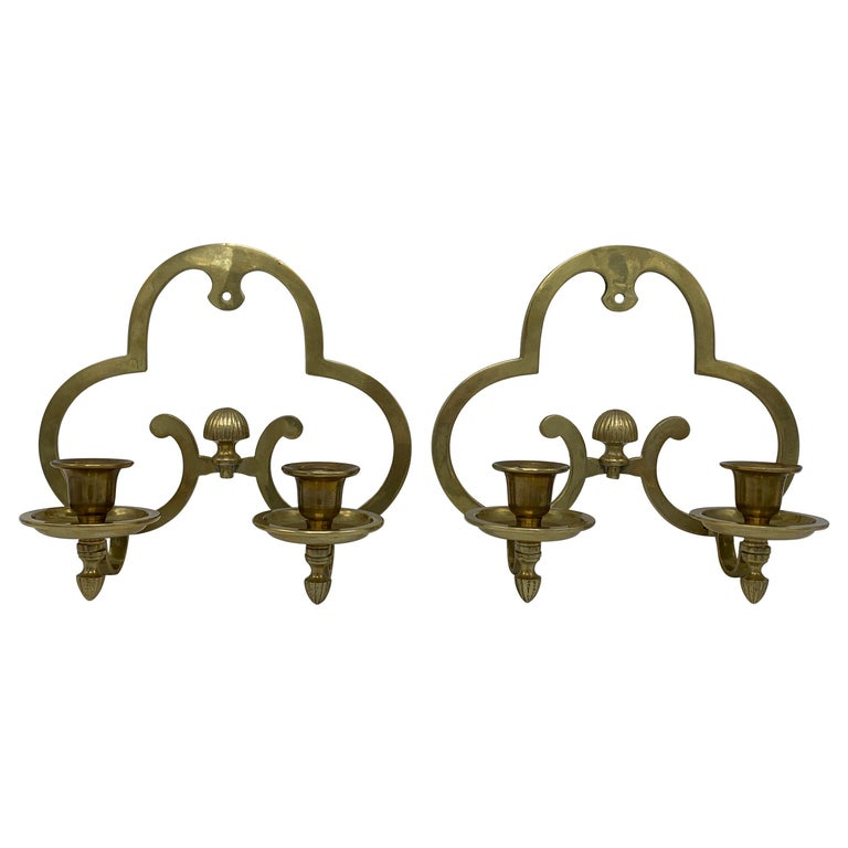1970s Brass Candlestick Wall Sconces, Pair For Sale