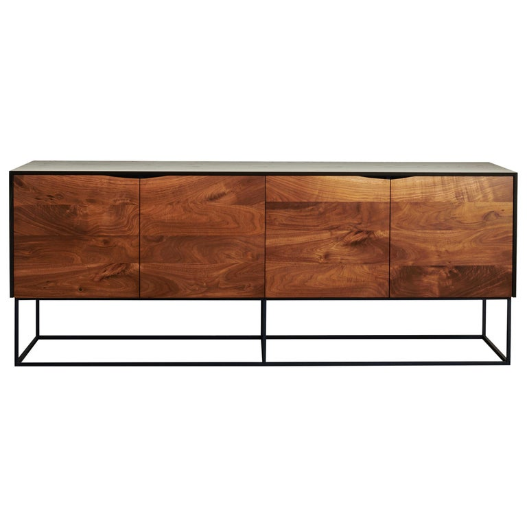 Handcrafted Classic Modern Credenza of Select Ash and Walnut with Steel Base For Sale