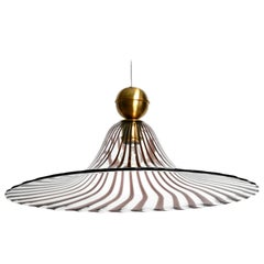 1970s Vetri Murano Glass Tulip Ceiling Lamp with Transparent and Purple Stripes
