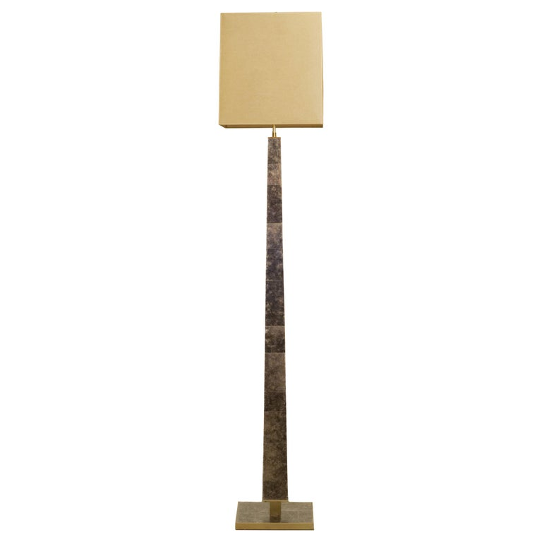 Modernist series Floor Lamp in Mica and Brass For Sale