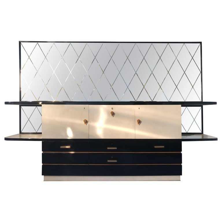 Italian Midcentury Parchment Black Lacquered Sideboard, 1950 For Sale