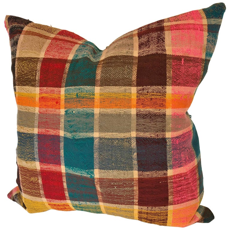 Custom Pillow by Maison Suzanne Cut from a Vintage Moroccan Cotton Haik  For Sale