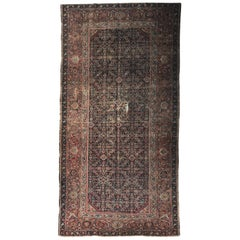 Beautiful Distressed Antique Turkish Mahal Rug
