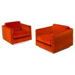 Orange Velvet Milo Baughman Midcentury Armchairs, Set of Two