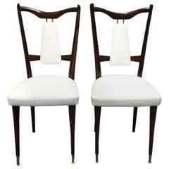 Set of 4 Italian Midcentury Dining Chairs White Leather