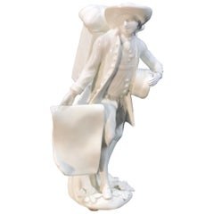Meissen Figure of the 'Print Seller', in the White, circa 1750