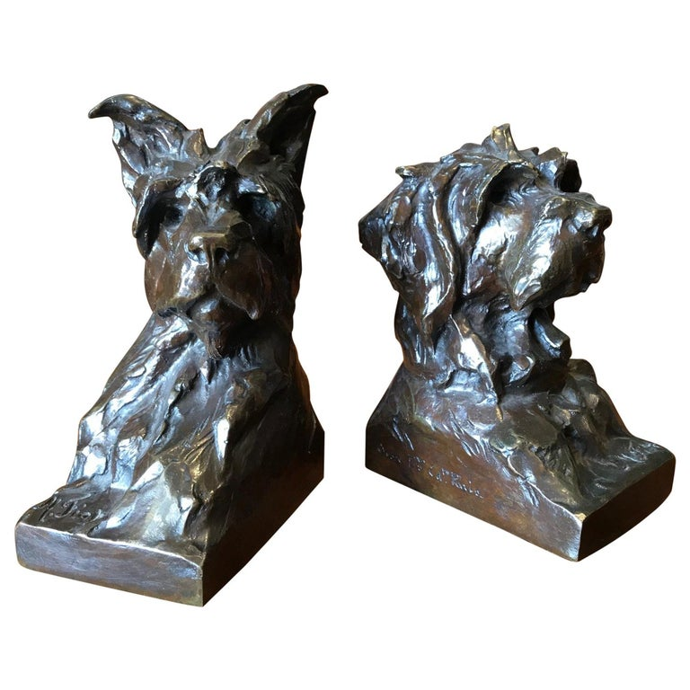 Animalier Bronze Sculptures of Scotties Dog Bookend by Maximillien Fiot Art Deco For Sale