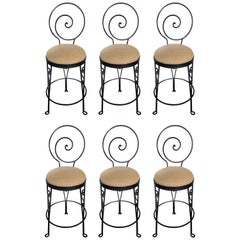 Mid-Century Modern Sculptural Wrought Iron Bar Stools
