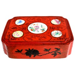 Vintage Red Lacquered Chinese Box with Antique Porcelains