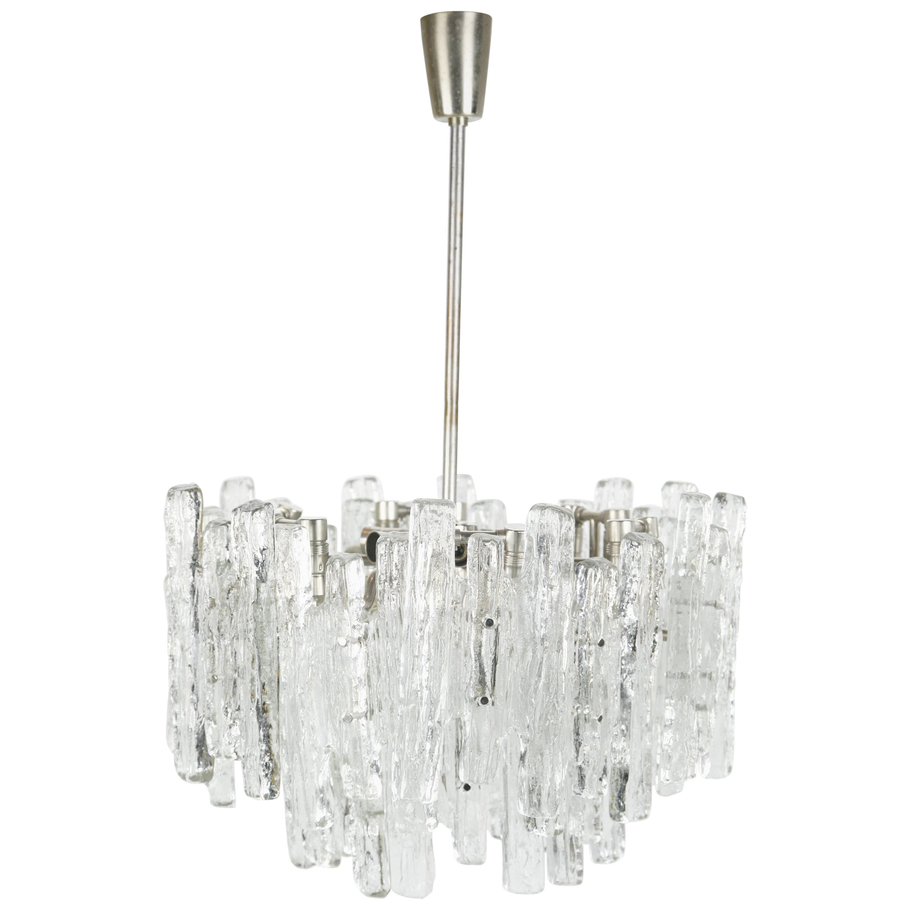 Kalmar Matte Ice Glass Chandelier, Austria, 1960s