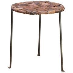 Studio Craft Iron and Woven Leather Stool by Lila Swift and Donald Monell