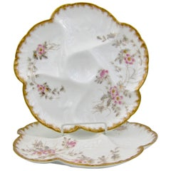 Antique French Limoges Porcelain Oyster Plate Pair, 1880s