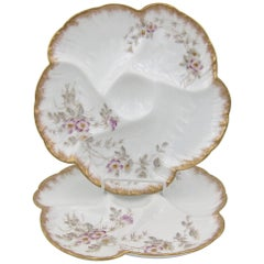 Antique Limoges Porcelain French Oyster Plate Pair, 1880s