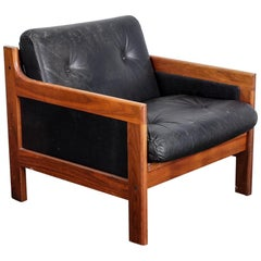 Swedish Midcentury Walnut and Black Leather Lounge Chair, Karl Erik Ekselius/JOC