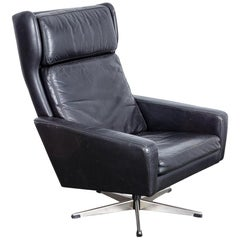 Danish Black Leather 1950s Wing Back Swivel Chair