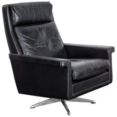 Danish Black Leather 1950s Tall Back Swivel Chair