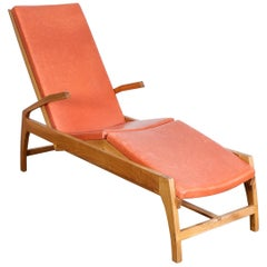 Swedish Oak and Leather Chaise Lounge