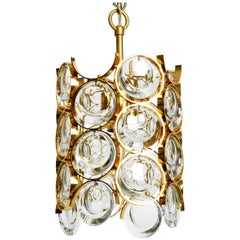 1960s Small Palwa Pendant Lamp with Heavy Brass Frame and Large Crystal Stones