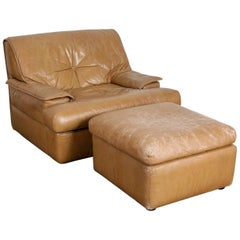 Pace Collection or i4 Mariani 'Monique' Tan Leather Lounge and Ottoman