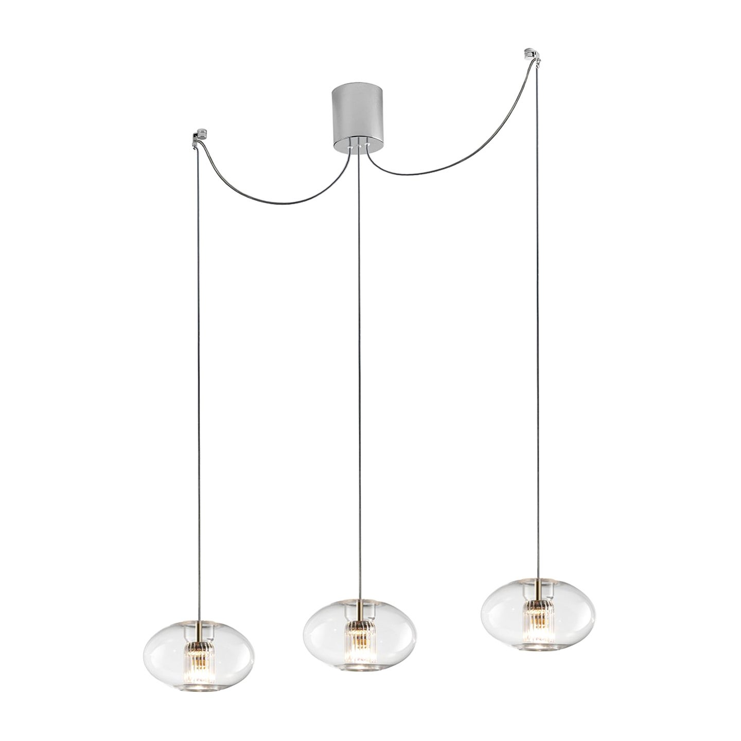 Leucos Fairy S G-D3 Multipoint Pendant Light in Transparent and Chrome