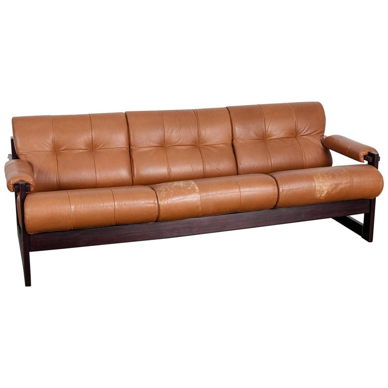 Percival Lafer 3-Seat MP-167 Sofa in Original Burnt Orange Leather, Brazil For Sale