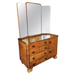 Art Deco Burlwood Dresser with Tri Fold Mirror