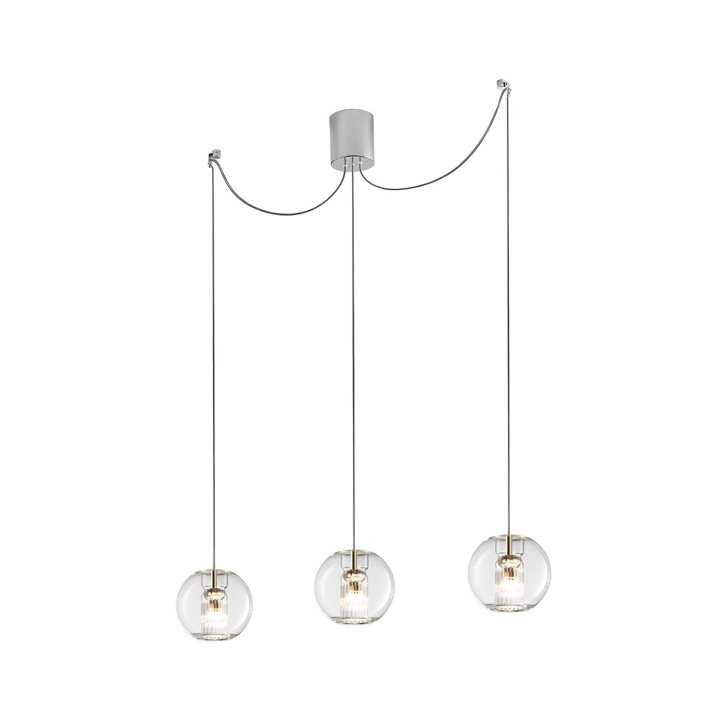 Leucos Fairy S S-D3 Multipoint Pendant Light in Transparent and Chrome