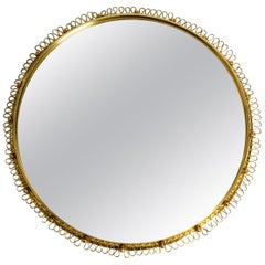 Midcentury Large Heavy Brass Wall Mirror by Josef Frank for Svenskt Tenn Sweden