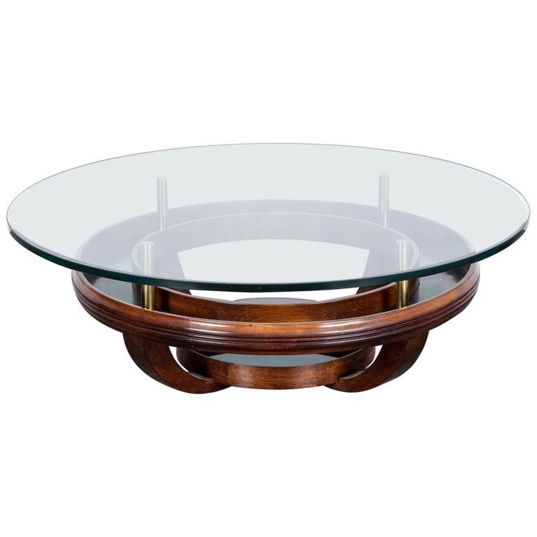 Unique Brazilian Bi-Level Glass Top Round Coffee Table