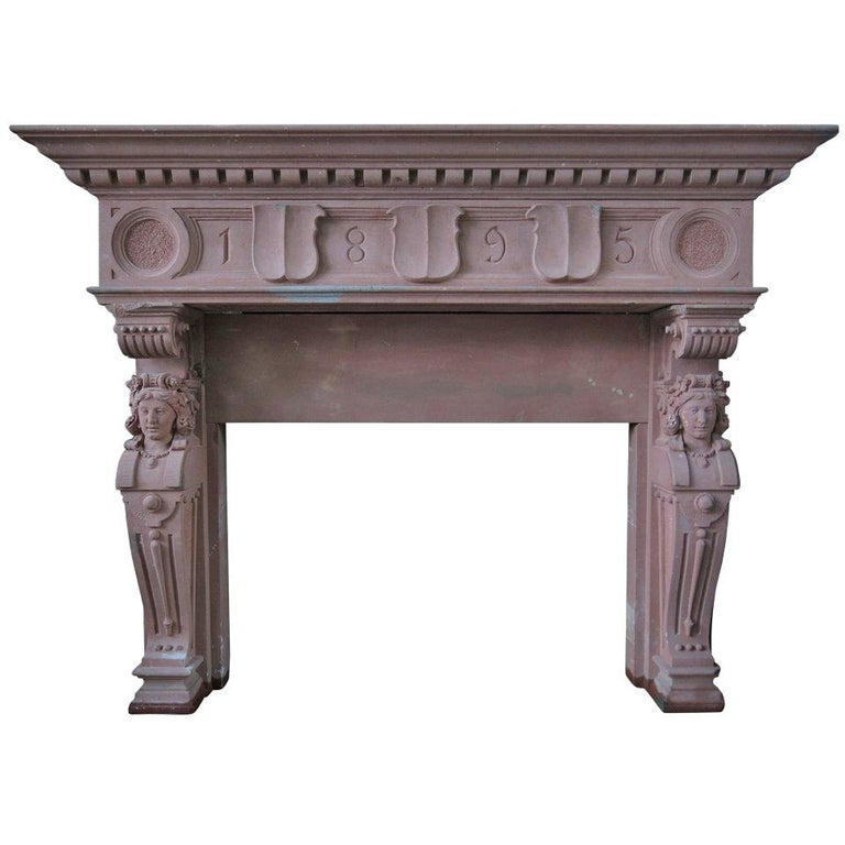 Embassy-Quality Fireplace Renaissance Caryatid Statues Dated 1895, France For Sale
