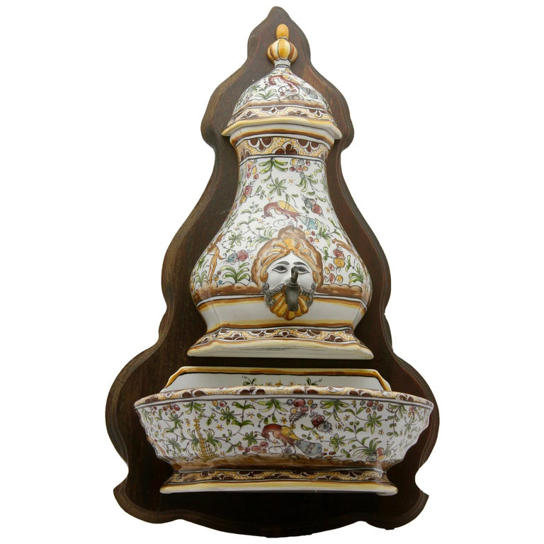 Colourful Portugese Cistern/Humidifier with 17th Century Flowers & Masque Decor For Sale