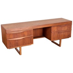 English Teak 1950s Mid-Century Modern Vanity or Small Desk with 4 Drawers