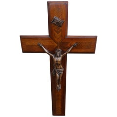 Stunning Mahogany & Kingwood Inlaid Crucifix with a Bronzed Corpus of Christ